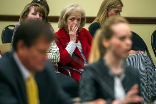 Chris Detrick  |  The Salt Lake Tribune Utah Eagle Forum's Gayle Ruzicka watches as Deondra Brown Nielsen talks about HB0335 during a House Education Committee meeting Tuesday February 23, 2016. Rep. Keven J. Stratton (R-Orem) is at left.