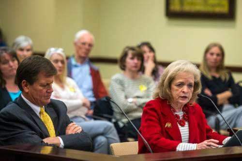 Chris Detrick  |  The Salt Lake Tribune Utah Eagle Forum's Gayle Ruzicka talks about HB0335 during a House Education Committee meeting Tuesday February 23, 2016.
