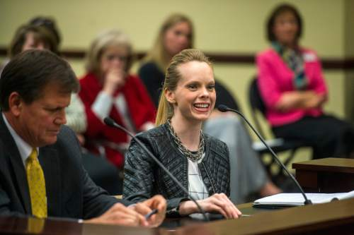 Chris Detrick  |  The Salt Lake Tribune Deondra Brown Nielsen talks about HB0335 during a House Education Committee meeting Tuesday February 23, 2016. Rep. Keven J. Stratton (R-Orem) is at left.