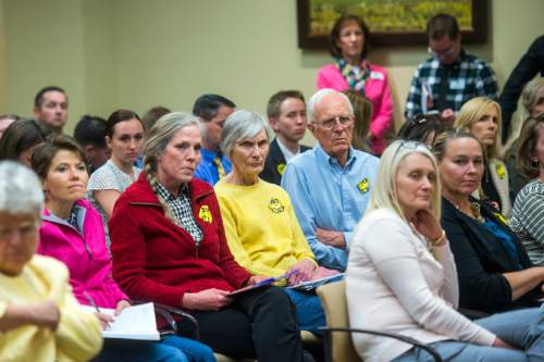 Chris Detrick  |  The Salt Lake Tribune Members of the public against comprehensive sex education listen to discussions about HB0246 during a House Education Committee meeting Tuesday February 23, 2016.