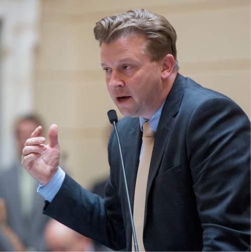 Rick Egan     The Salt Lake Tribune  Senator Todd Weiler comments on the medical marijuana bill SB73 on the floor of the senate Friday, February 19, 2016.
