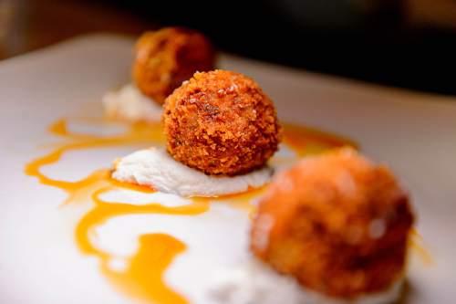 Trent Nelson  |  The Salt Lake Tribune Pastitsio croquette (spiced beef, béchamel, hilopites, Greek yogurt) at Manoli's, a new upscale Greek restaurant in Salt Lake City specializing in small plates.