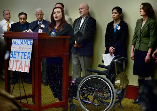 Scott Sommerdorf   |  The Salt Lake Tribune Stacy Stanford, a Westminster college student in the coverage gap, speaks at a press conference of community leaders, advocates and medical professionals encouraging lawmakers to act on healthcare, Wednesday, February 24, 2016.