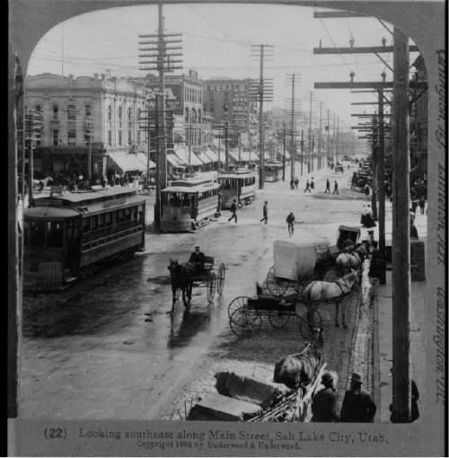 Courtesy  |  Library of Congress  Looking southeast along Main Street, Salt Lake City, Utah 1904.