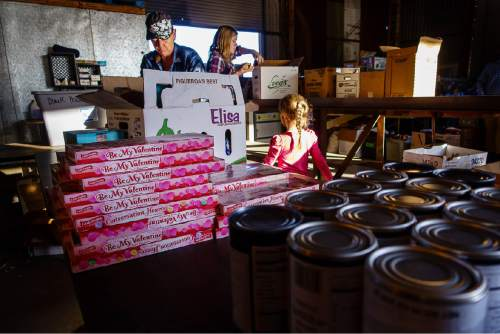 Trent Nelson  |  The Salt Lake Tribune Donations are sorted at Southwest Recovery Mission Ministries in Apple Valley, Thursday February 25, 2016. The organization provides donated food to families in Hildale, Utah and Colorado City, Arizona.