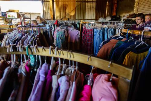 Trent Nelson  |  The Salt Lake Tribune Donated clothing at Southwest Recovery Mission Ministries in Apple Valley, Thursday February 25, 2016. The organization provides donated food to families in Hildale, Utah and Colorado City, Arizona.