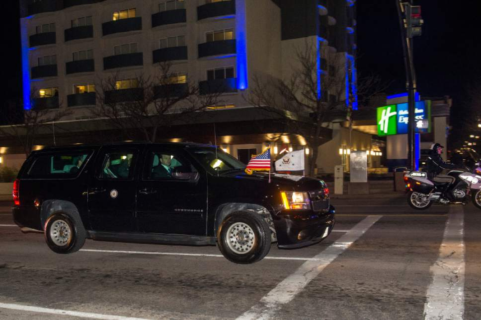 Chris Detrick  |  The Salt Lake Tribune A motorcade drives down West Temple on the way to the Hotel Monaco Thursday February 25, 2016. Vice President Joe Biden will visit the Huntsman Cancer Institute to participate in a discussion about the initiative to cure cancer President Barack Obama has tapped him to lead.