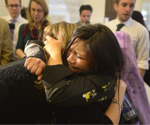 Steve Griffin     The Salt Lake Tribune Weeping with joy, Enedina Stanger, right, who suffers froma rarely diagnosed disorder that causes a mutation in her collagen, hugs Christine Stenquist, a long time advocate of medical marijuana, outside the Senate Chambers on Thursday. SB73 passed the Senate and now moves on to the Utah House. Her decision to use medical marijuana has not been well received by her Mormon family.