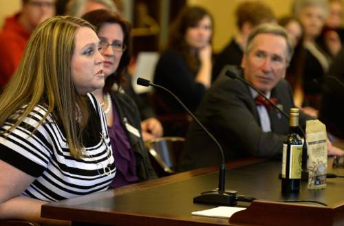Rick Egan  | The Salt Lake Tribune   Jennifer May (left) talks to the Senate Health and Human Services Committee  about HB0105S07 Plant Extract Amendments, allowing cannabis oil for the treatment of seizures, Thursday, March 6, 2014.