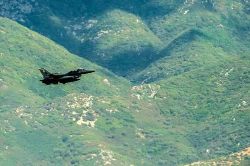 Chris Detrick  |  The Salt Lake Tribune A F-16 flies above Hill Air Force Base last year.