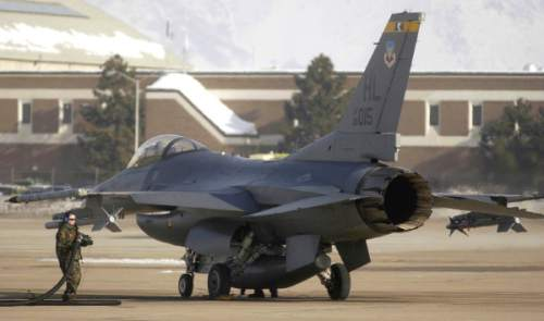 Tribune file photo An F-16 fighter plane from the 388th fighter wing gets refueled at Hill Air Force Base.