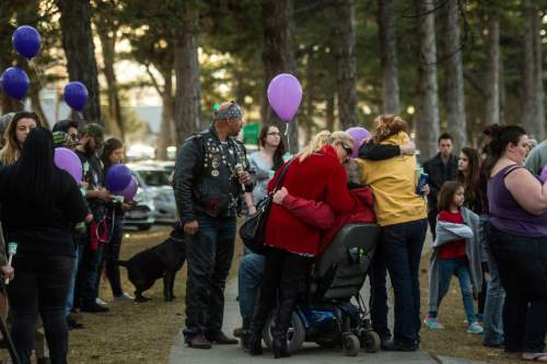 Chris Detrick  |  The Salt Lake Tribune Friends and family members gather during a vigil for Hope Gabaldon at Liberty Park Sunday February 28, 2016. Gabaldon, 21, was found mortally wounded in the city on Thursday night. West Valley City police, working with law enforcement in Denver, found and detained a person of interest Sunday afternoon, according to a news release.