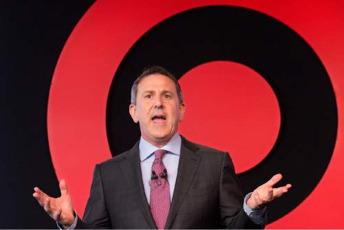 Target Chairman and CEO Brian Cornell speaks to a group of investors, Wednesday, March 2, 2016, in New York. Target's annual meeting comes as the discounter is making progress in reinvigorating its business and winning back shoppers under Cornell, CEO since August 2014. (AP Photo/Mark Lennihan)