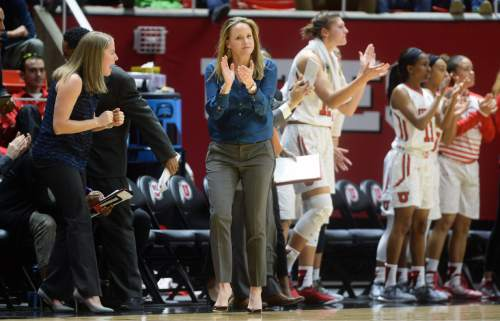 Steve Griffin  |  The Salt Lake Tribune   University of Utah head basketball coach Lynne Roberts cheers her team on as the Utes open up a lead on UCLA during basketball game at the Huntsman Center in Salt Lake City, Sunday, January 31, 2016.
