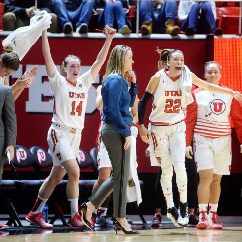 Steve Griffin  |  The Salt Lake Tribune   Utah Utes guard Paige Crozon (14) and Utah Utes guard Danielle Rodriguez (22) jump off the bench in excitement during game against UCLA at the Huntsman Center in Salt Lake City, Sunday, January 31, 2016.