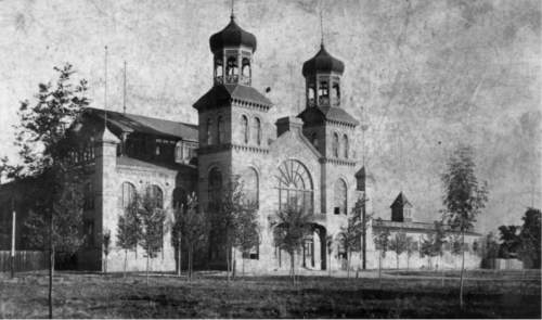    Courtesy Michael De Groote, S.K. Hart Management  A photo of Utah Exposition Building, built in 1888 at what was then called Tenth Ward Square in Salt Lake City, near where Trolley Square sits today.  Used for the 1888 Utah Territorial Fair and state fairs in 1899 and 1901, the building was designed by architect Richard Kletting, who would later design Saltair Resort and the Utah State Capitol Building.