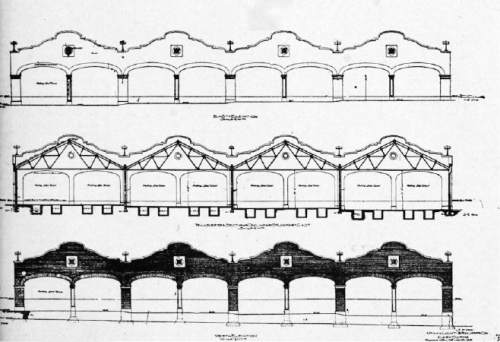   Courtesy Michael De Groote, S.K. Hart Management  Blueprints from 1908 for the trolley barns along 700 East that were eventually converted into Trolley Square shopping center.