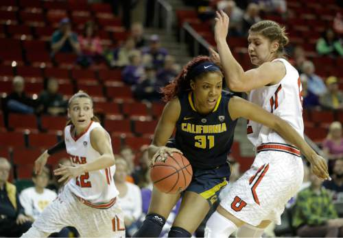 California forward Kristine Anigwe (31) drives around Utah forward Emily Potter, right, in the first half of an NCAA college basketball game in the Pac-12 Conference tournament, Thursday, March 3, 2016, in Seattle. (AP Photo/Ted S. Warren)