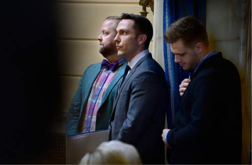 Scott Sommerdorf   |  The Salt Lake Tribune   Assault victims Taylor Lamont, Rusty Andrade and Maxwell Christen, right, listen to debate on HB107 - Hate Crimes - in the Utah Senate, Wednesday, March 2, 2016.