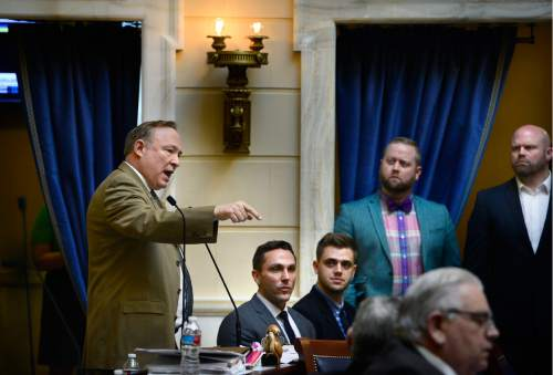 Scott Sommerdorf   |  The Salt Lake Tribune   Senator Jim Dabakis, D-Salt Lake, speaks about HB107 - Hate Crimes - in the Utah Senate, Wednesday, March 2, 2016.