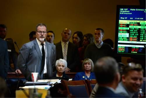 Scott Sommerdorf   |  The Salt Lake Tribune   Senator Stephen Urquhart, R-StGeorge, speaks to his bill HB107 - Hate Crimes - in the Utah Senate, Wednesday, March 2, 2016.