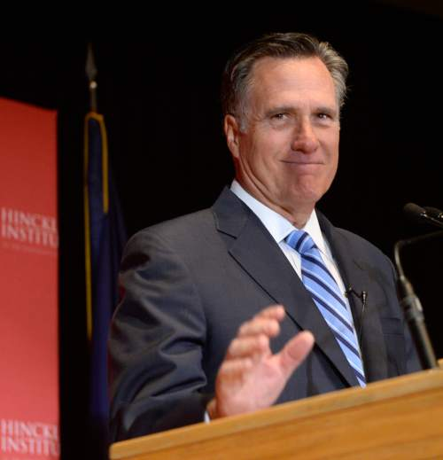 Al Hartmann  |  The Salt Lake Tribune Former presidential candidate Mitt Romney makes a speech about the state of the 2016 presidential race and Donald Trump at the Hinckley Insitute of Politics at the University of Utah Thursday March 3.