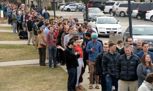 Al Hartmann  |  The Salt Lake Tribune University of Utah students line up for limited seats at Libby Gardner Hall for former presidential candidate Mitt Romney who made a speech about the state of the 2016 presidential race and Donald Trump at the Hinckley Insitute of Politics at the University of Utah Thursday March 3.