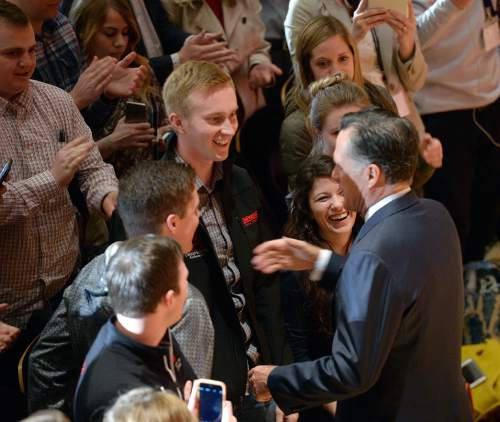 Al Hartmann  |  The Salt Lake Tribune University of Utah students applaud and shake hands with former presidential candidate Mitt Romney after he made a speech about the state of the 2016 presidential race and Donald Trump at the Hinckley Insitute of Politics at the University of Utah Thursday March 3.