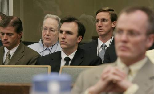 Polygamous sect leader Warren Jeffs' supporters, including his mother, Marilyn Steed, second from left, and his brother, Nephi Jeffs, second from right,  listen to the proceedings from the gallery as Washington County Attorney Brock Belnap, right, sits at the prosecution table during Jeffs' appearance in Fifth District Court, Friday, July 20, 2007, in St. George, Utah. Jailhouse statements made by Jeffs cannot be used against him at his September trial on rape by accomplice charges, a state judge ruled. (AP Photo/Jud Burkett, Pool)