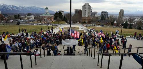 Scott Sommerdorf   |  The Salt Lake Tribune   Supporters and family of LaVoy Finicum held a rally at the Utah State Capitol on Saturday.
