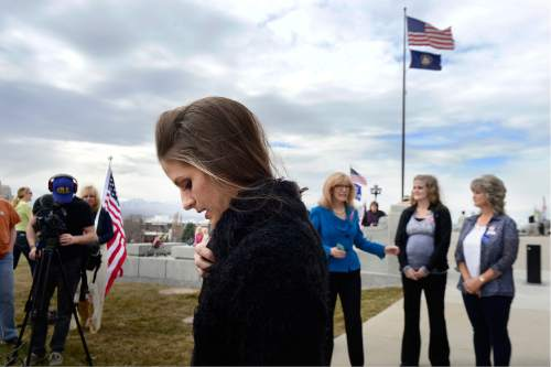 Scott Sommerdorf   |  The Salt Lake Tribune   LaVoy Finicum's daughter Thara Tenney pauses after she spoke about her father and his beliefs at a rally at the Utah State Capitol on Saturday.