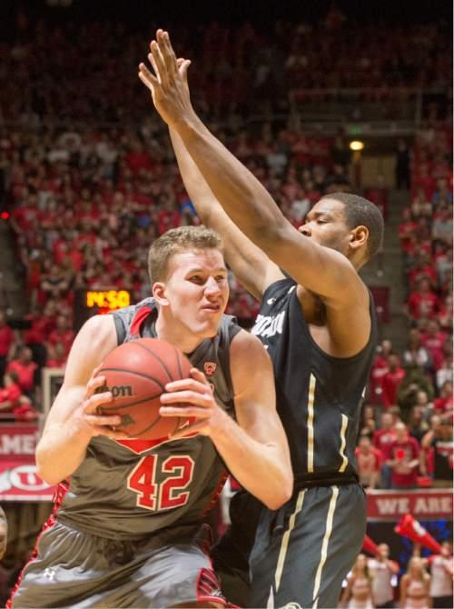 Rick Egan  |  The Salt Lake Tribune  Colorado Buffaloes forward Josh Scott (40) defends as Utes forward Jakob Poeltl (42) in Pac-12 basketball action at the Huntsman Center Saturday, March 5, 2016.