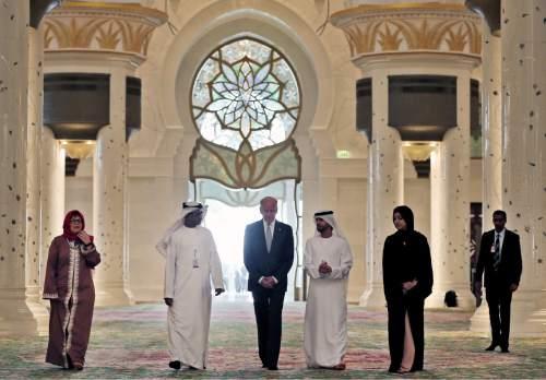 U.S. Vice President Joe Biden, center, visits Sheikh Zayed Grand Mosque in Abu Dhabi, United Arab Emirates, Monday, March 7, 2016. (AP Photo/Kamran Jebreili)