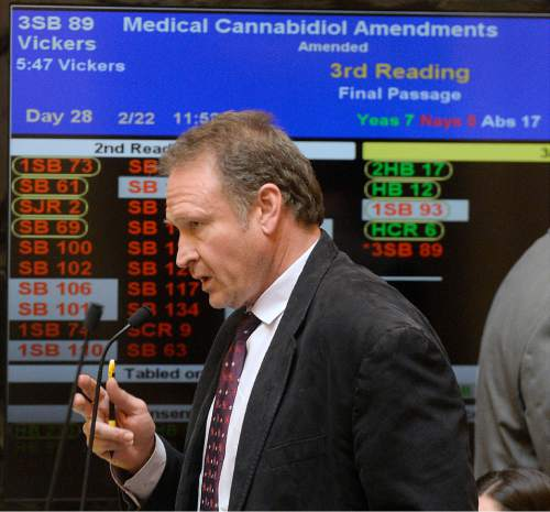 Al Hartmann  |  Tribune file photo Sen. Mark Madsen, R-Saratoga Springs, was unhappy that his medical marijuana bill was defeated in committee and a hybrid measure was forwarded to the full House.