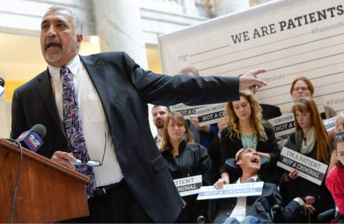 "Francisco Kjolseth | Tribune file photo ""These are not the faces of criminals!"" District Attorney Sim Gill said at a press conference earlier in the session supporting a medical cannabis bill."