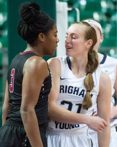Rick Egan  |  The Salt Lake Tribune  Santa Clara Broncos guard Taylor Berry (3) gets in to the face of Brigham Young Cougars guard Lexi Eaton Rydalch (21), after she was fouled, in basketball action in the West Coast Conference Semifinals, at the Orleans Arena in Las Vegas, Saturday, March 7, 2016.