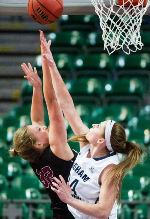 Rick Egan  |  The Salt Lake Tribune  Santa Clara Broncos forward Devin Hudson (32) shoots as Brigham Young Cougars forward Amanda Wayment  defends in basketball action in the West Coast Conference Semifinals, at the Orleans Arena in Las Vegas, Saturday, March 7, 2016.