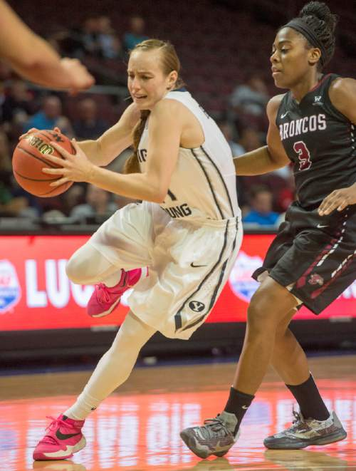 Rick Egan  |  The Salt Lake Tribune  Brigham Young Cougars guard Lexi Eaton Rydalch (21) gets past Santa Clara Broncos guard Taylor Berry (3) takes a shot, in basketball action in the West Coast Conference Semifinals, at the Orleans Arena in Las Vegas, Saturday, March 7, 2016.