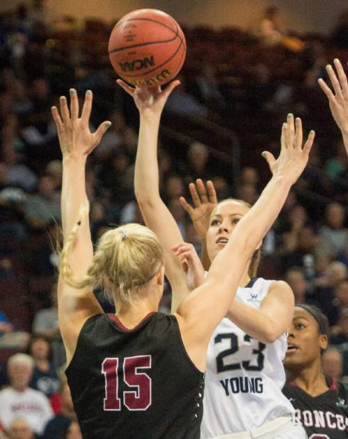 Rick Egan  |  The Salt Lake Tribune  Brigham Young Cougars guard Makenzi Morrison Pulsipher (23) shoots over Santa Clara Broncos forward Marie Bertholdt (15), in basketball action in the West Coast Conference Semifinals, at the Orleans Arena in Las Vegas, Saturday, March 7, 2016.