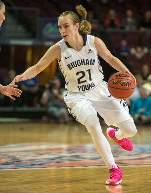 Rick Egan  |  The Salt Lake Tribune  Brigham Young Cougars guard Lexi Eaton Rydalch (21) in basketball action in the West Coast Conference Semifinals, at the Orleans Arena in Las Vegas, Saturday, March 7, 2016.