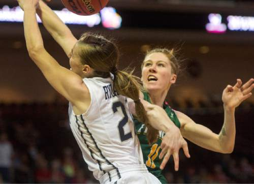 Rick Egan  |  The Salt Lake Tribune  Brigham Young Cougars guard Lexi Eaton Rydalch (21) is fouled by San Francisco Lady Dons guard Rachel Howard (11), in the West Coast Conference Championship game, at the Orleans Arena in Las Vegas, Tuesday, March 8, 2016.