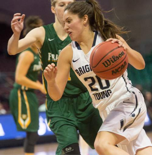 Rick Egan  |  The Salt Lake Tribune  Brigham Young Cougars guard Cassie Broadhead (20) takes the ball inside, in the West Coast Conference Championship game, at the Orleans Arena in Las Vegas, Tuesday, March 8, 2016.