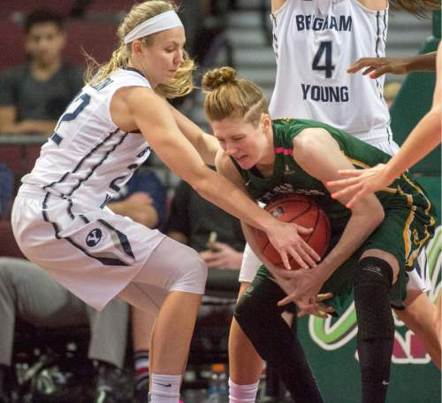 Rick Egan  |  The Salt Lake Tribune  Brigham Young Cougars guard/forward Kristine Fuller Nielson (22) steals the ball from San Francisco Lady Dons guard Rachel Howard (11), in the West Coast Conference Championship game, at the Orleans Arena in Las Vegas, Tuesday, March 8, 2016.