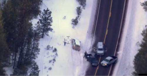 """FILE - This photo taken from an FBI video shows Robert """"LaVoy"""" Finicum after he was fatally shot by police Tuesday, Jan. 26, 2016 near Burns, Ore. On Tuesday, March 8, 2016, authorities said police were justified in killing Finicum. (FBI via AP, file)"""
