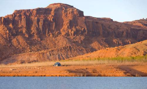 Al Hartmann  |  The Salt Lake Tribune Plenty of elbow room for tent camping on sandy beach in Good Hope bay on Lake Powell.
