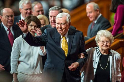 Chris Detrick  |  The Salt Lake Tribune M. Russell Ballard, Quorum of the Twelve Apostles, walks off of the stage during morning session of the 185th LDS General Conference at  the Conference Center in Salt Lake City Saturday October 3, 2015.