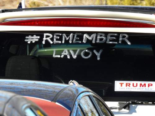 "Trent Nelson  |  The Salt Lake Tribune #Remember LaVoy, written on a vehicle at the funeral for Robert ""LaVoy"" Finicum, in Kanab, Friday February 5, 2016. Finicum was shot and killed by police during a January 26 traffic stop. Finicum was part of the armed occupation of an Oregon wildlife refuge."