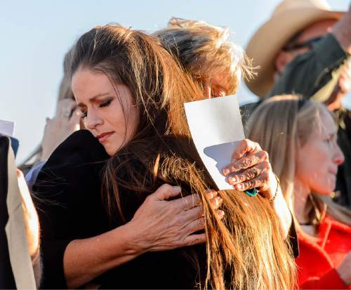 "Trent Nelson  |  The Salt Lake Tribune Thara Tenney, daughter of Robert ""LaVoy"" Finicum, embraces her mother Jeanette Finicum, following his funeral in Kanab, Friday February 5, 2016. Finicum was shot and killed by police during a January 26 traffic stop. Finicum was part of the armed occupation of an Oregon wildlife refuge."
