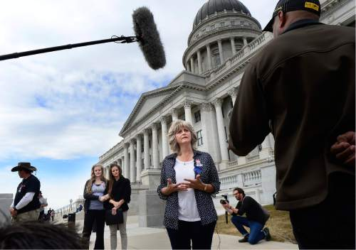 "Scott Sommerdorf   |  The Salt Lake Tribune   LaVoy Finicum's widow, Jeanette speaks about what she called her husband's ""assasination"" while speaking to the media prior to a rally at the Utah State Capitol, Saturday, March 5, 2016."