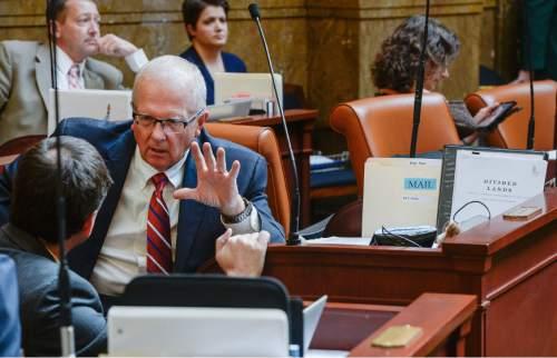 Francisco Kjolseth | The Salt Lake Tribune Representative Mike Noel, R-Kanab, works on the House floor at the Utah Capitol on Wednesday, Jan. 27, 2016.